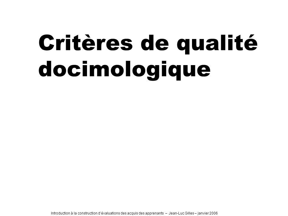 Critères de qualité docimologique