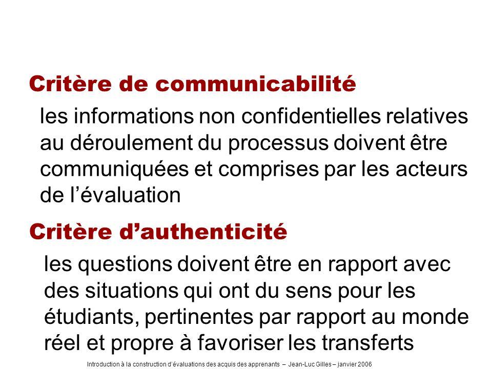 Critère de communicabilité
