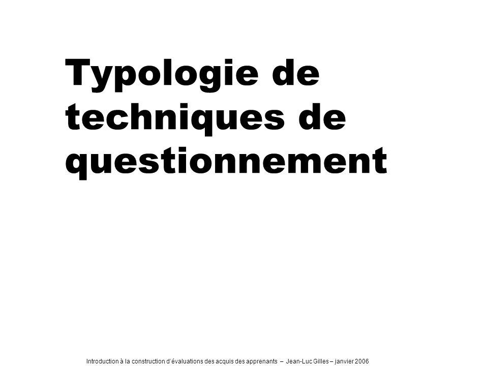 Typologie de techniques de questionnement