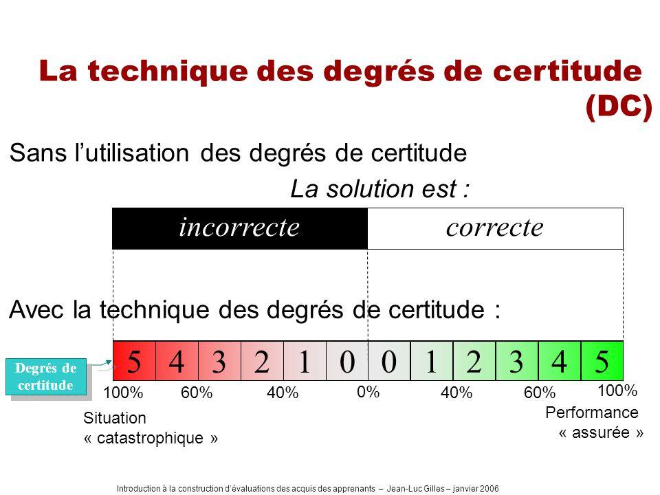 5 4 3 2 1 La technique des degrés de certitude (DC) incorrecte