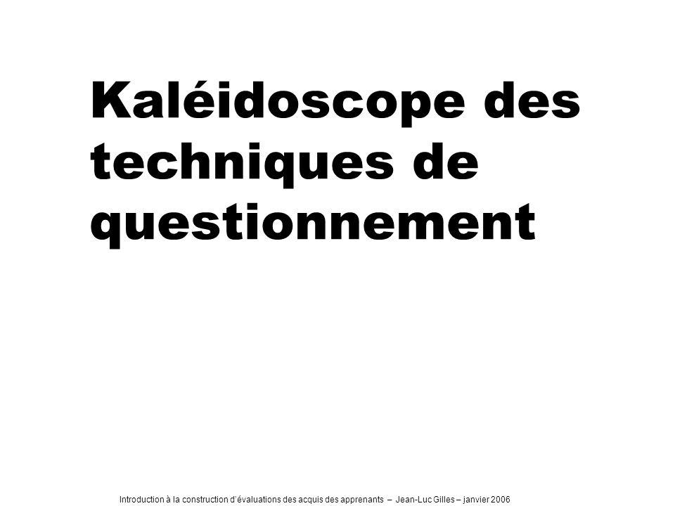 Kaléidoscope des techniques de questionnement