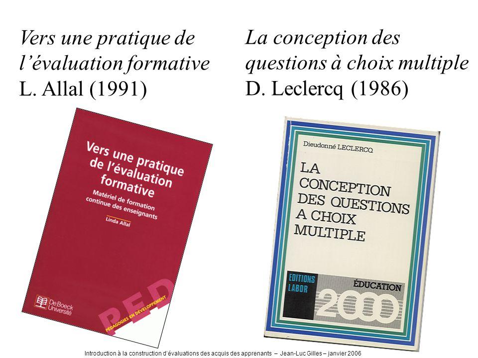 Vers une pratique de l'évaluation formative L. Allal (1991)