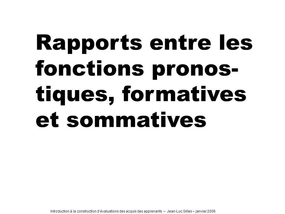 Rapports entre les fonctions pronos-tiques, formatives