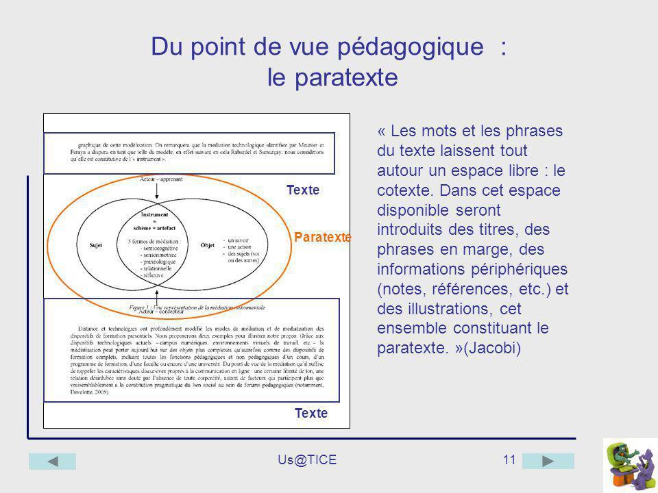 Du point de vue pédagogique : le paratexte