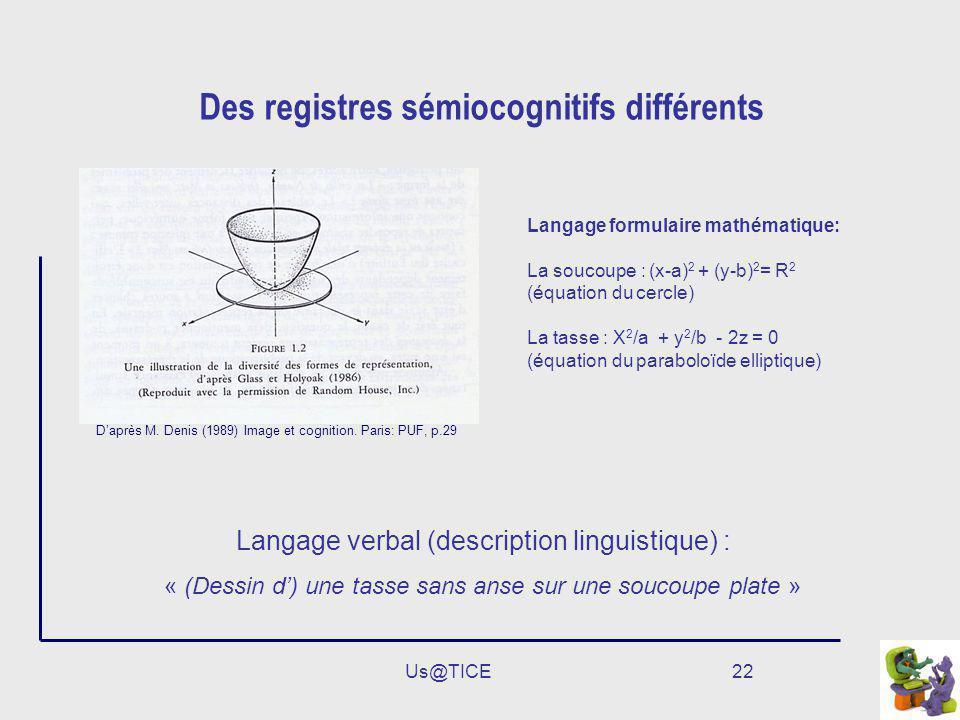 Des registres sémiocognitifs différents