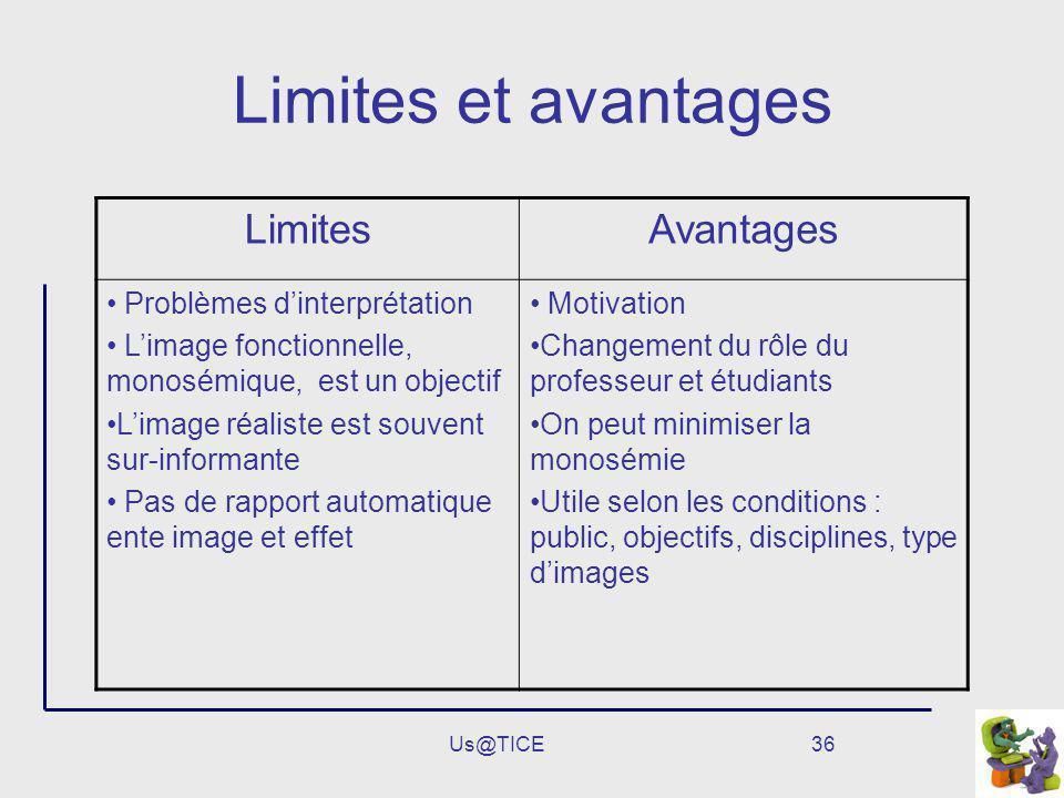 Limites et avantages Limites Avantages Problèmes d'interprétation