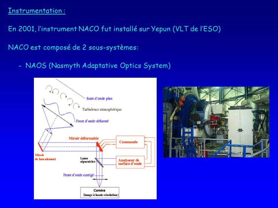 Instrumentation : En 2001, l'instrument NACO fut installé sur Yepun (VLT de l'ESO) NACO est composé de 2 sous-systèmes: