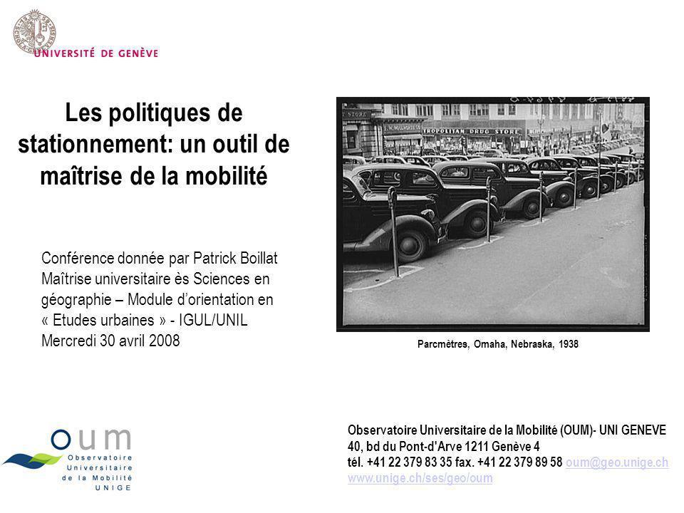 Les politiques de stationnement: un outil de maîtrise de la mobilité
