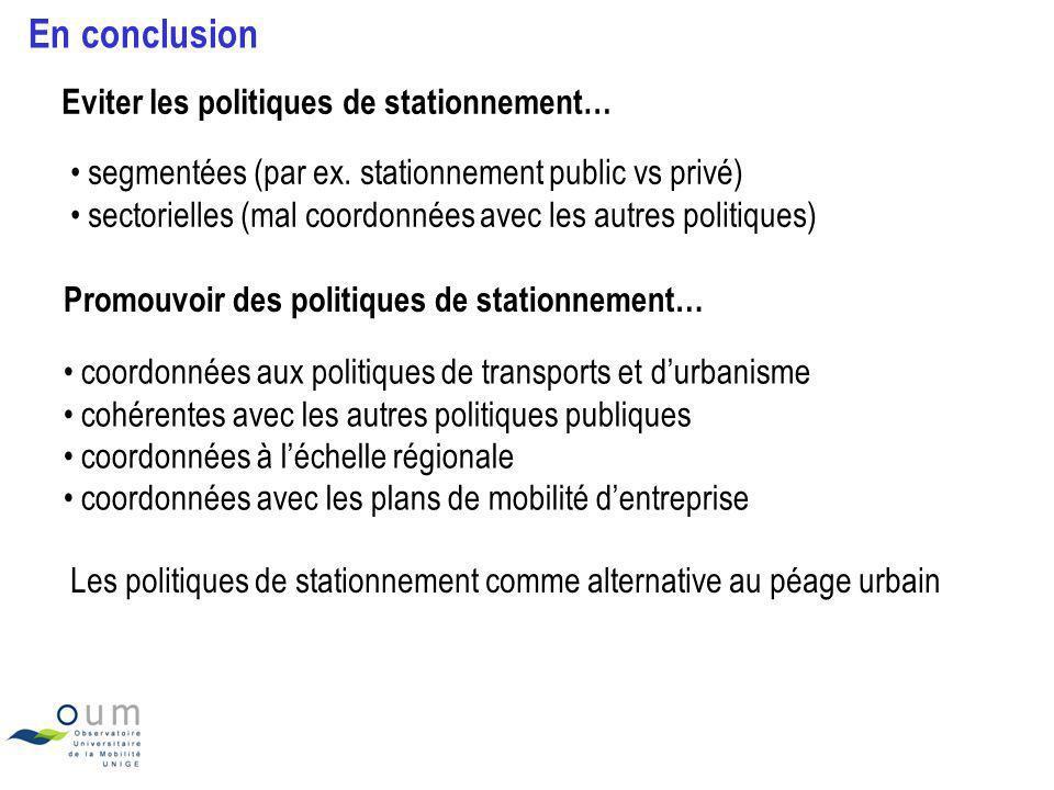 En conclusion Eviter les politiques de stationnement…