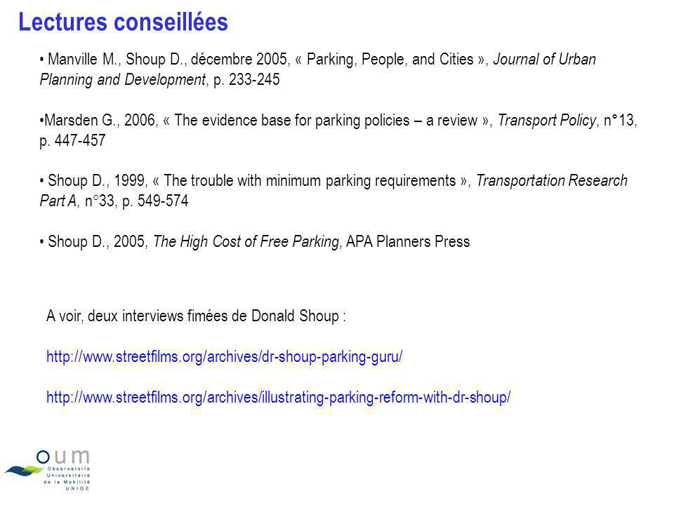Lectures conseillées Manville M., Shoup D., décembre 2005, « Parking, People, and Cities », Journal of Urban Planning and Development, p. 233-245.