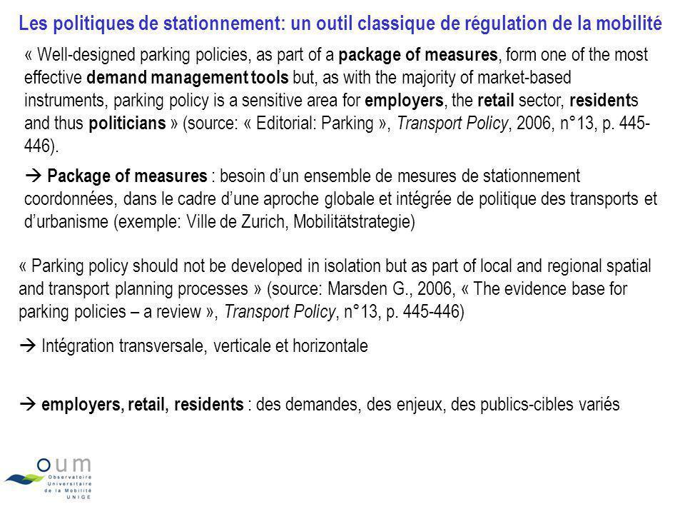 Les politiques de stationnement: un outil classique de régulation de la mobilité