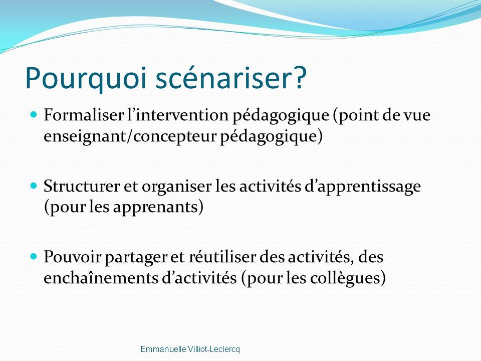 Pourquoi scénariser Formaliser l'intervention pédagogique (point de vue enseignant/concepteur pédagogique)