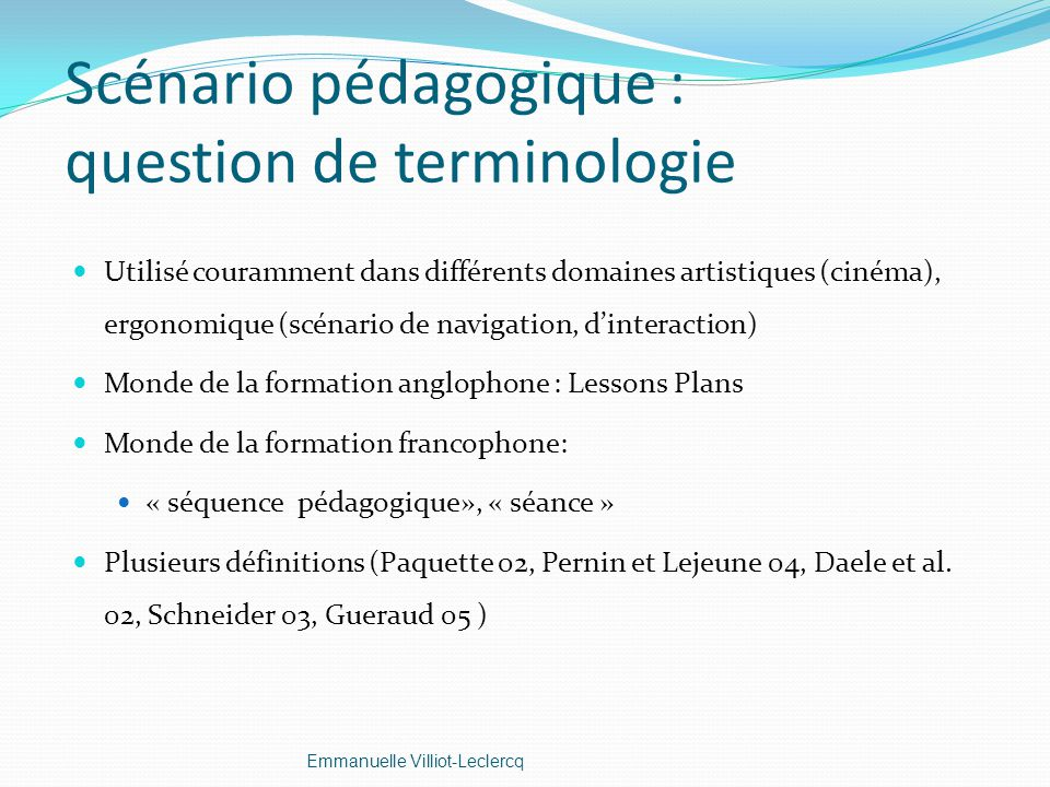 Scénario pédagogique : question de terminologie