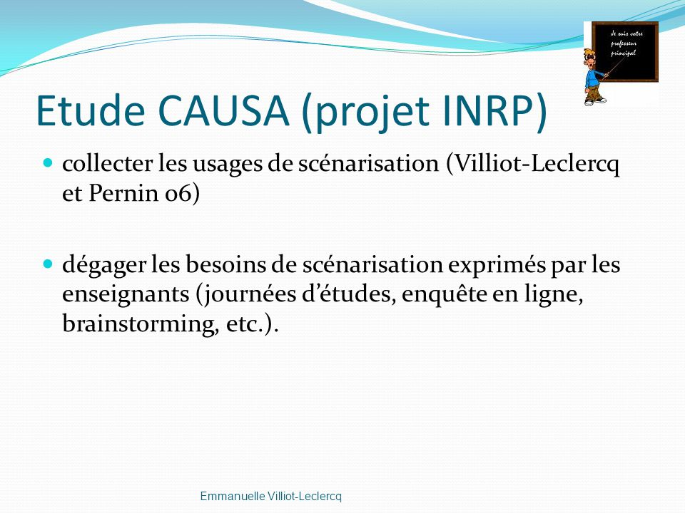Etude CAUSA (projet INRP)