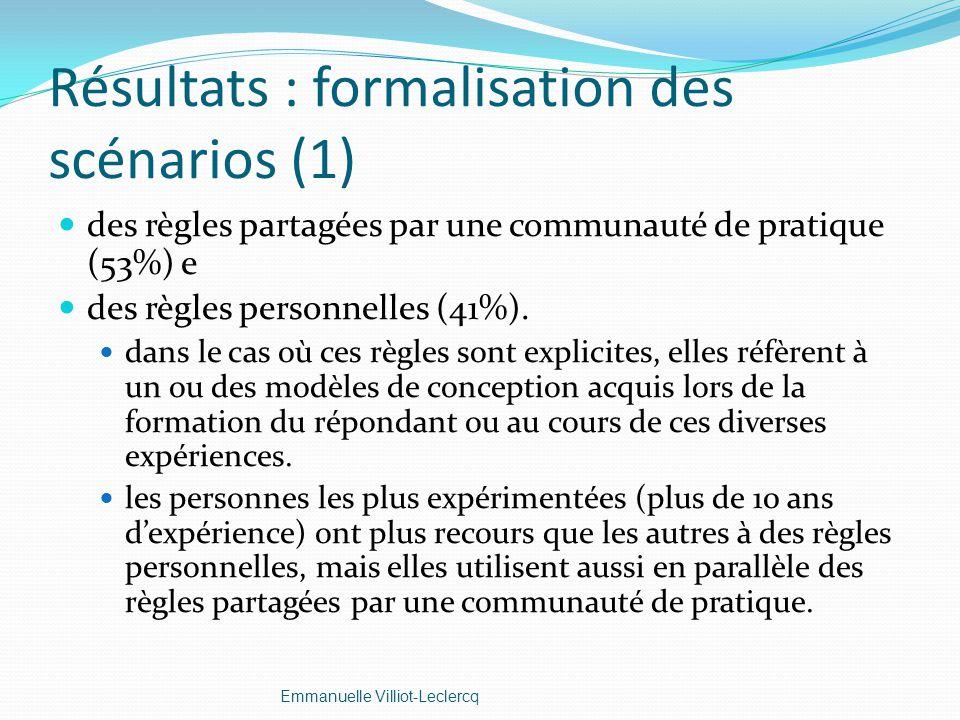 Résultats : formalisation des scénarios (1)