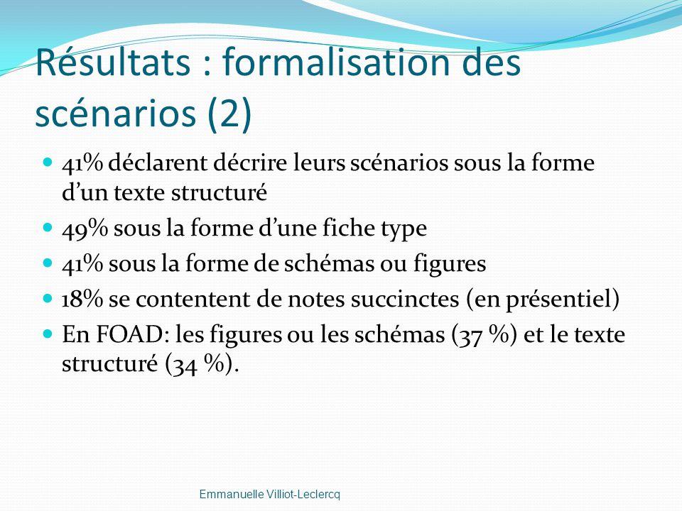 Résultats : formalisation des scénarios (2)