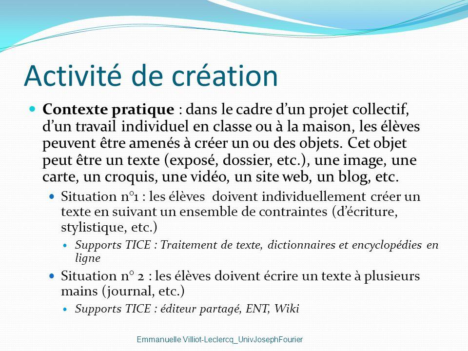 Activité de création