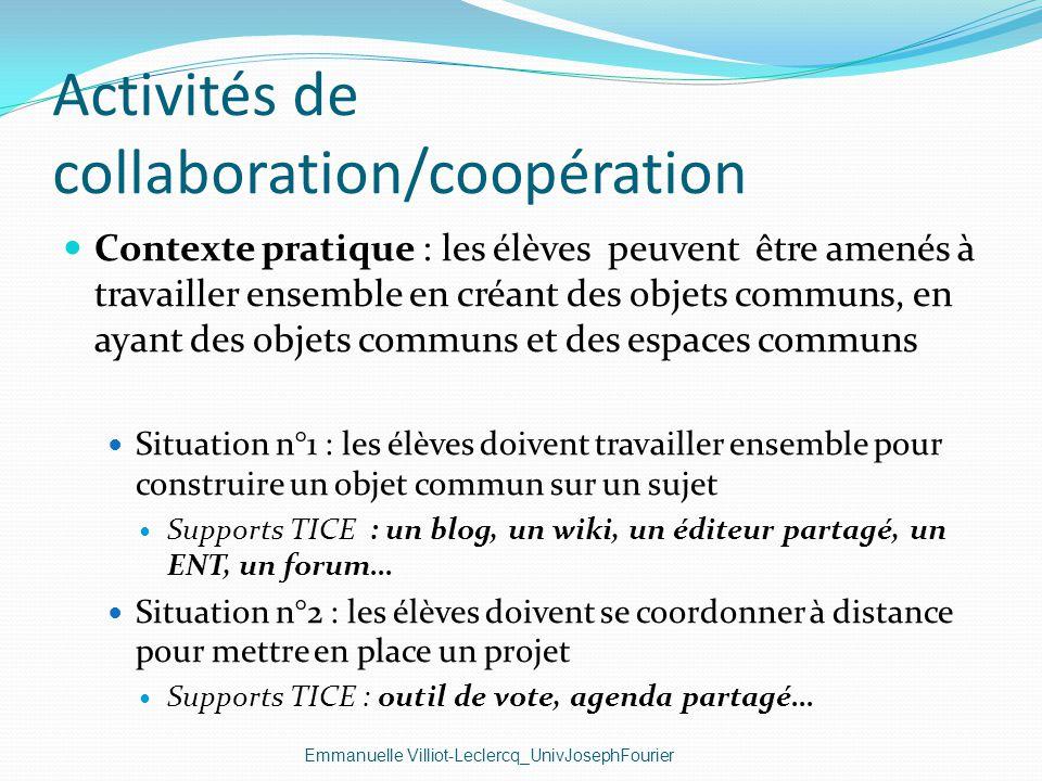 Activités de collaboration/coopération