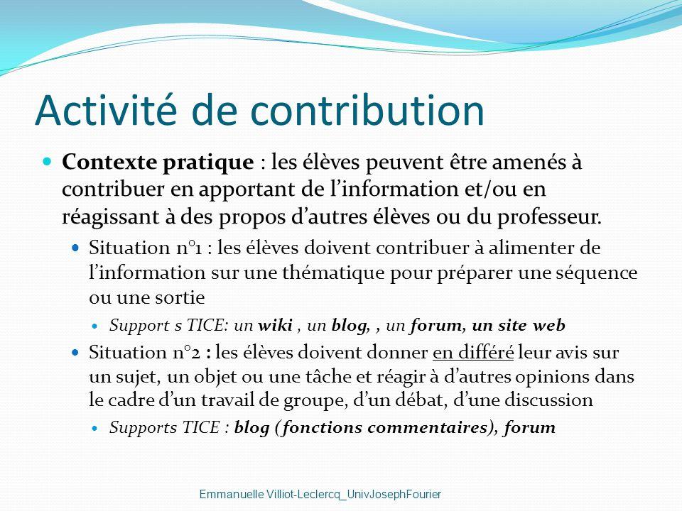 Activité de contribution