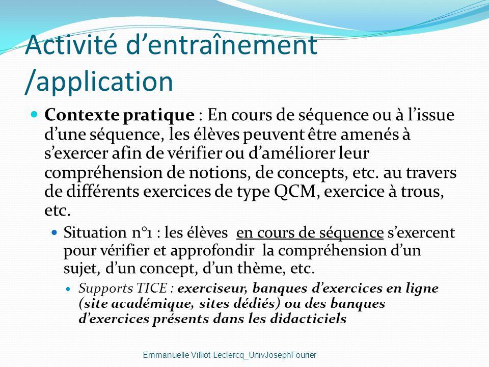 Activité d'entraînement /application