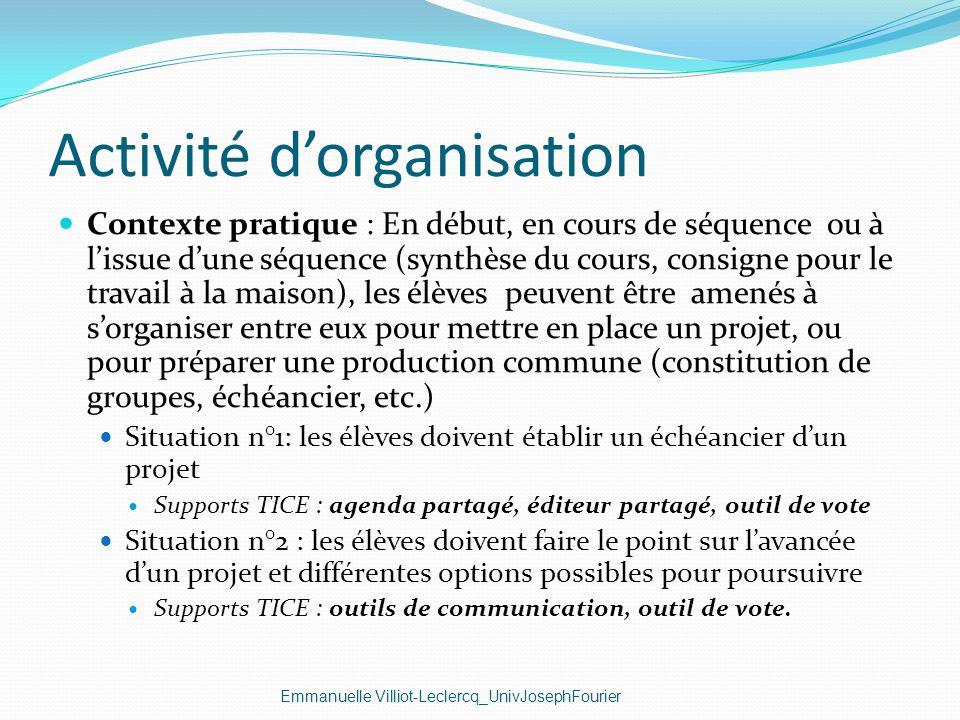 Activité d'organisation