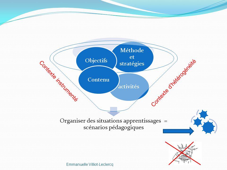 Organiser des situations apprentissages = scénarios pédagogiques