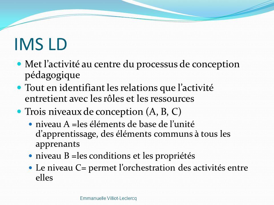 IMS LD Met l'activité au centre du processus de conception pédagogique