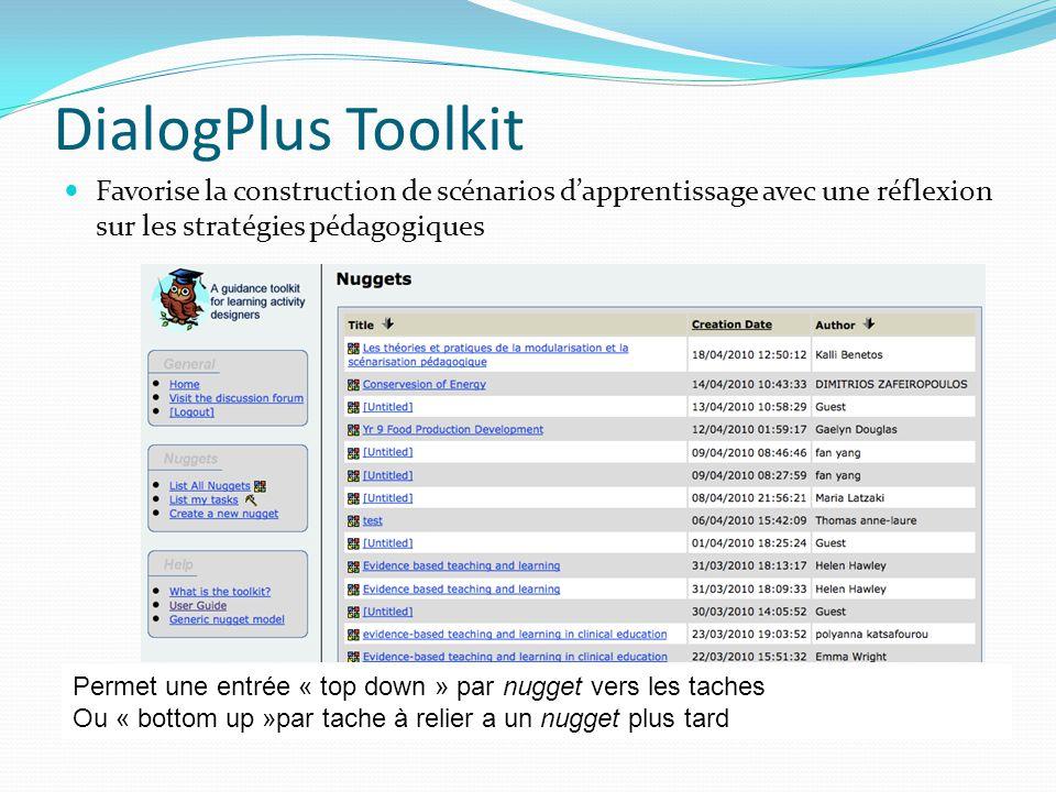 DialogPlus Toolkit Favorise la construction de scénarios d'apprentissage avec une réflexion sur les stratégies pédagogiques.