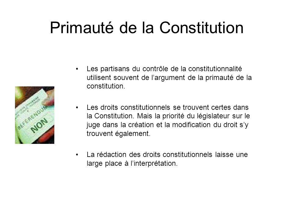 Primauté de la Constitution