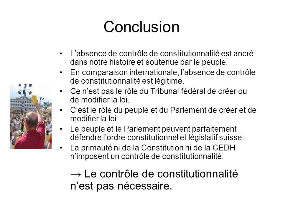 Conclusion → Le contrôle de constitutionnalité n'est pas nécessaire.
