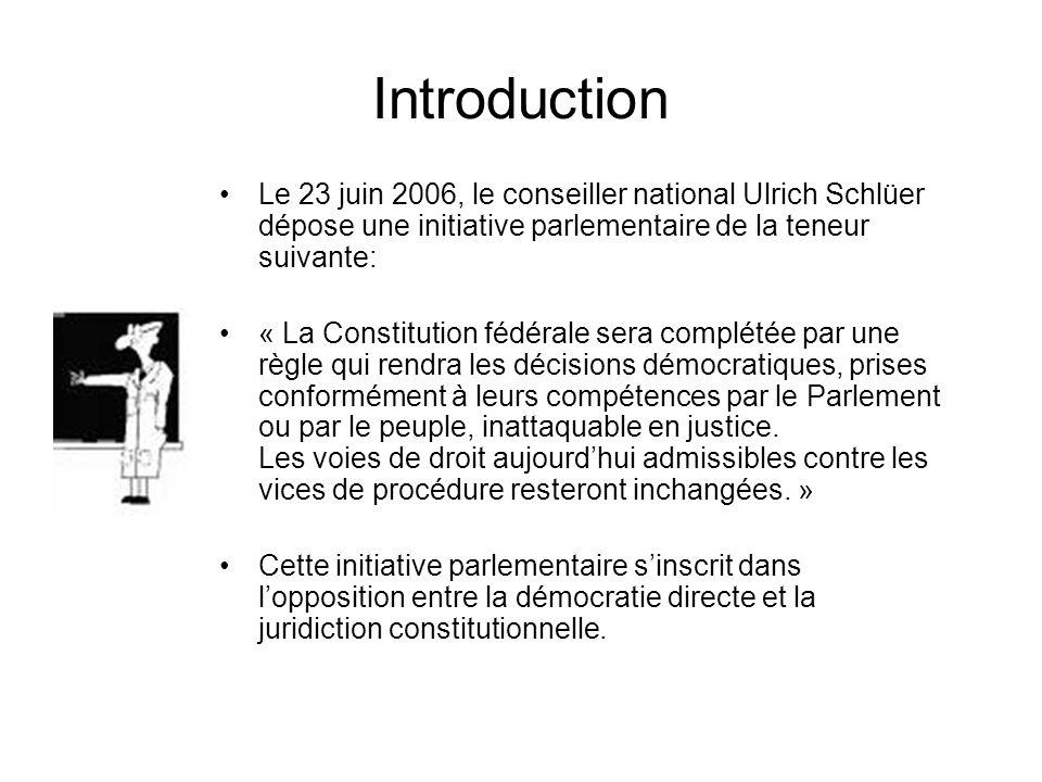 Introduction Le 23 juin 2006, le conseiller national Ulrich Schlüer dépose une initiative parlementaire de la teneur suivante: