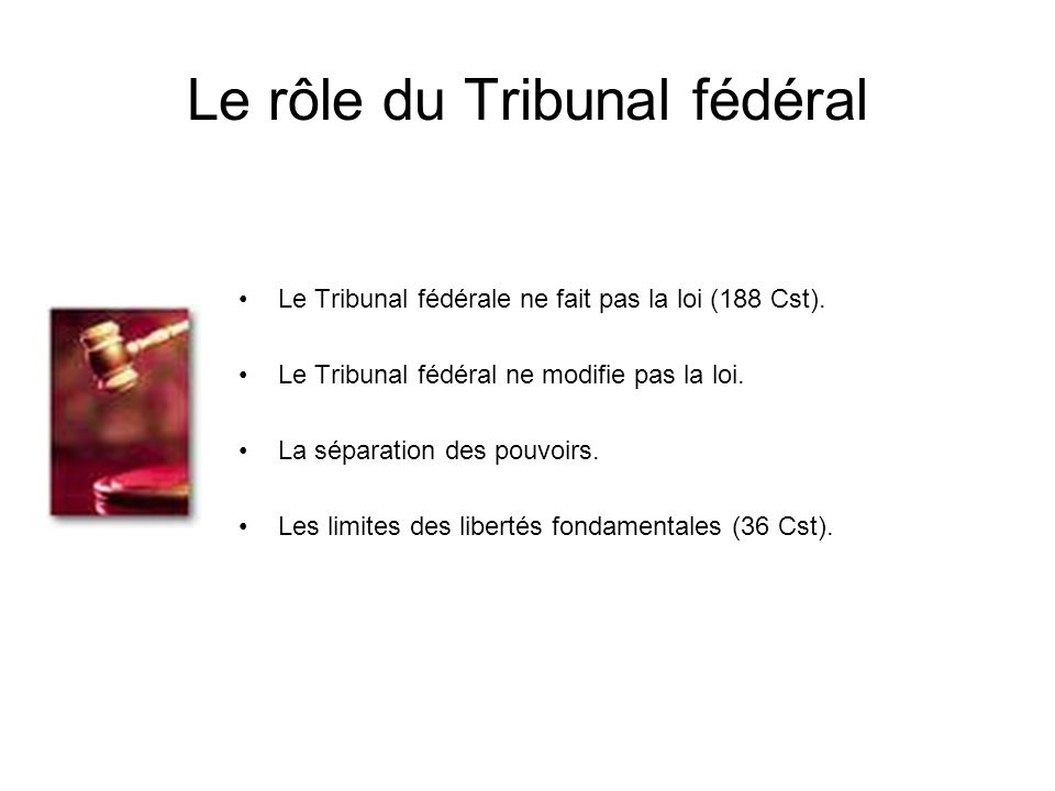Le rôle du Tribunal fédéral