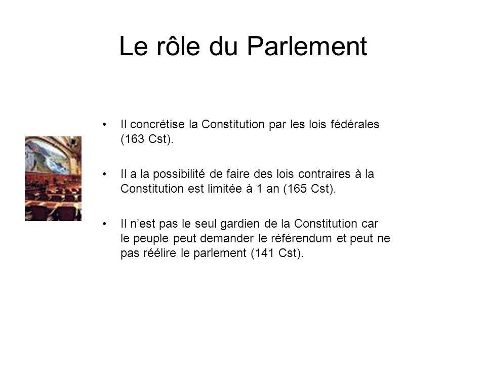 Le rôle du Parlement Il concrétise la Constitution par les lois fédérales (163 Cst).