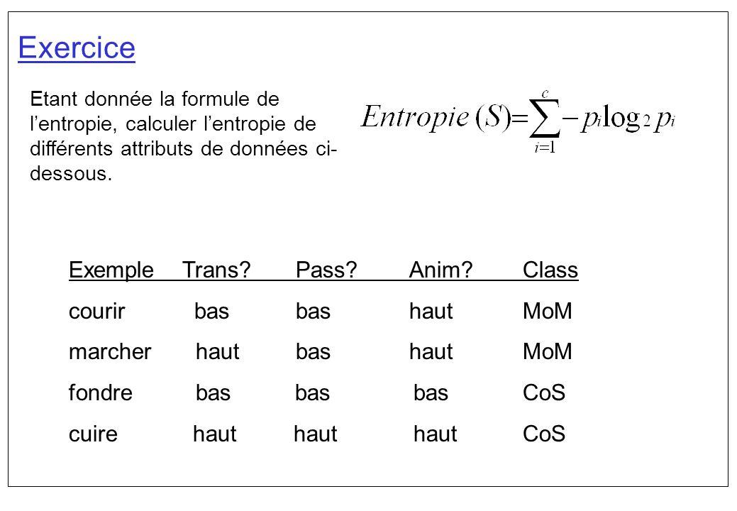Exercice Exemple Trans Pass Anim Class courir bas bas haut MoM