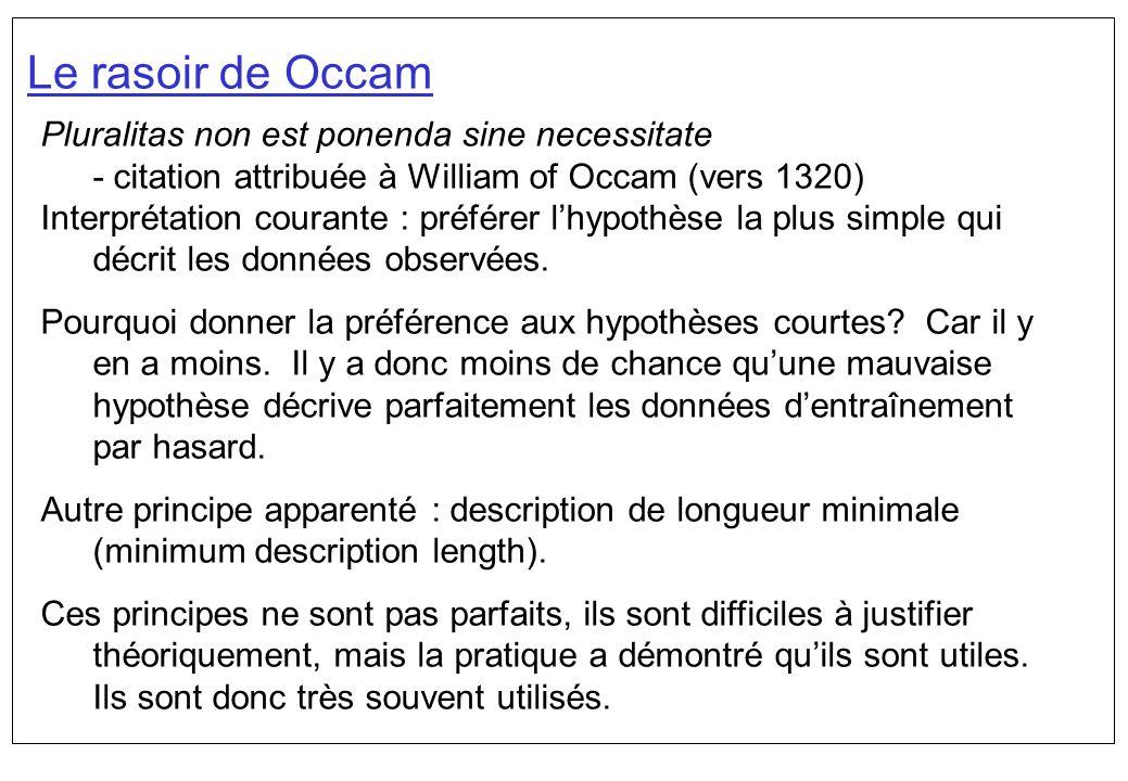 Le rasoir de Occam Pluralitas non est ponenda sine necessitate