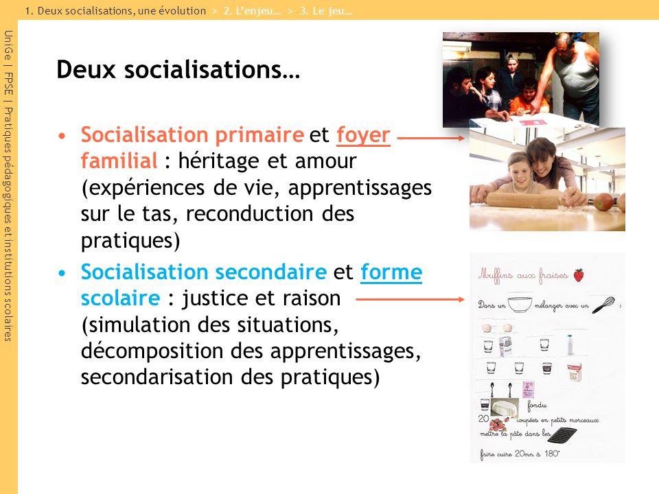1. Deux socialisations, une évolution > 2. L'enjeu… > 3. Le jeu…