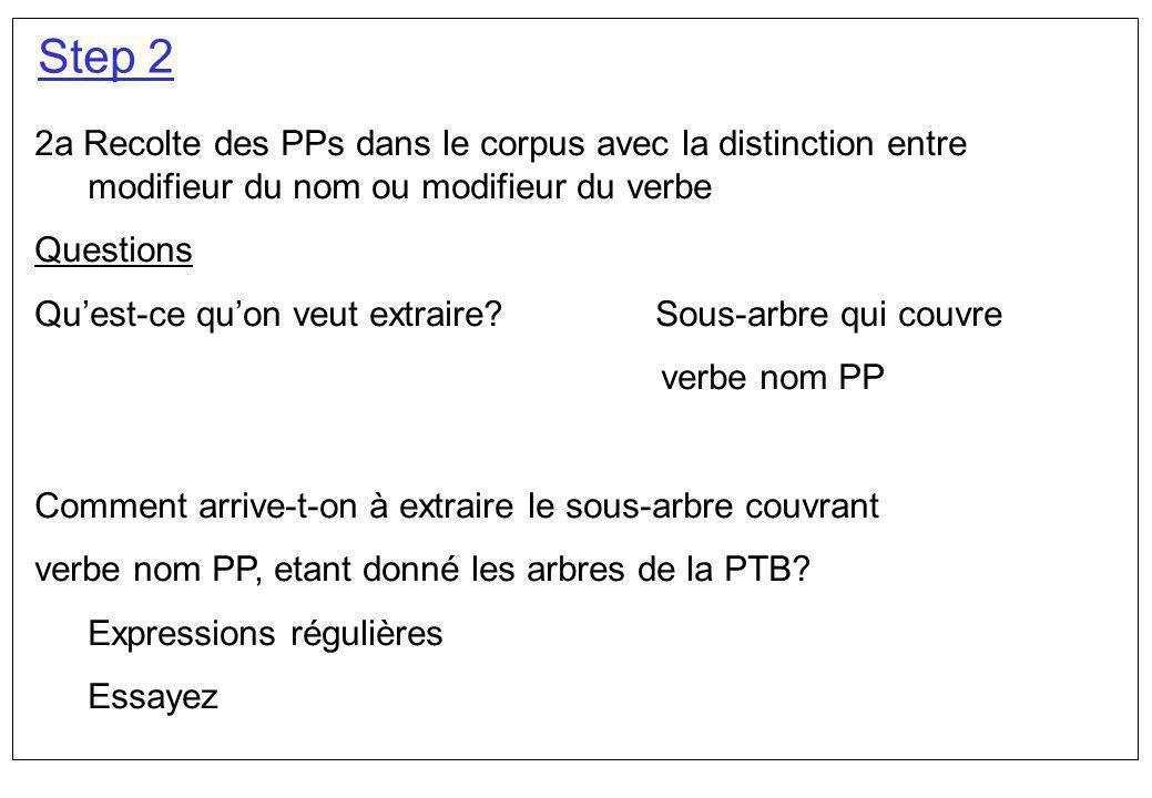 Step 2 2a Recolte des PPs dans le corpus avec la distinction entre modifieur du nom ou modifieur du verbe.