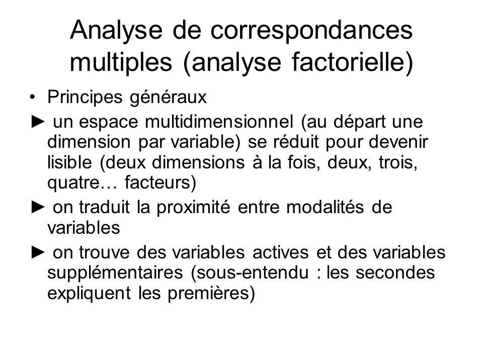 Analyse de correspondances multiples (analyse factorielle)