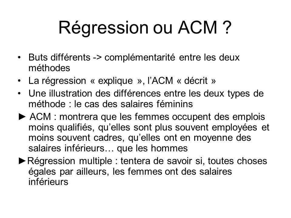 Régression ou ACM Buts différents -> complémentarité entre les deux méthodes. La régression « explique », l'ACM « décrit »