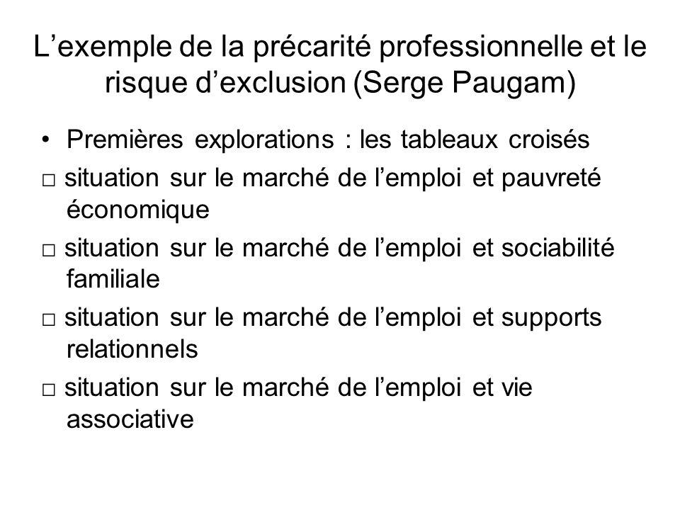 L'exemple de la précarité professionnelle et le risque d'exclusion (Serge Paugam)