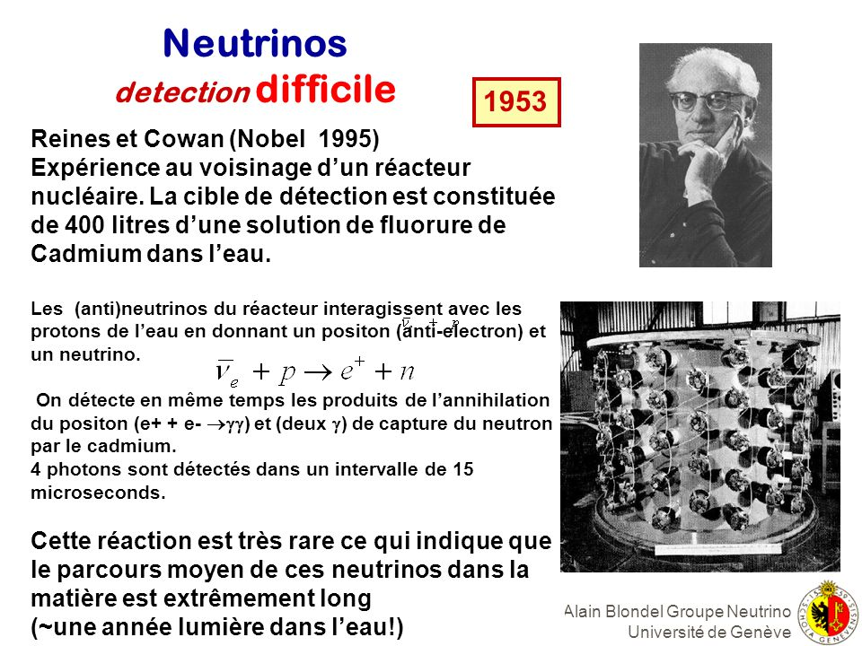 Neutrinos detection difficile 1953 Reines et Cowan (Nobel 1995)