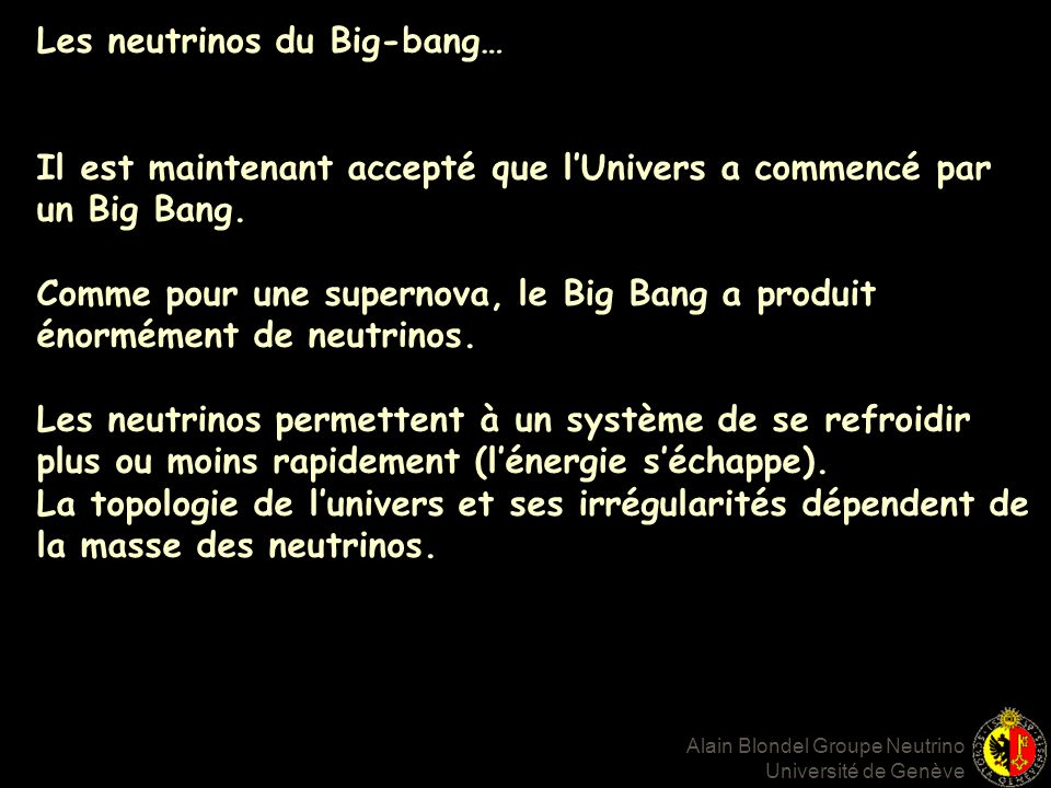 Les neutrinos du Big-bang…