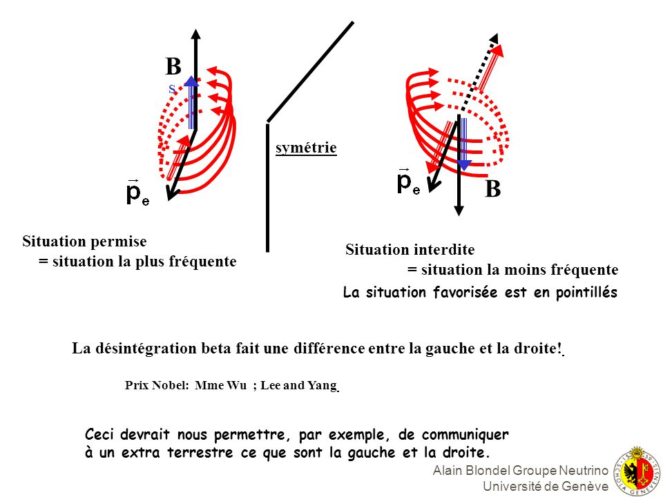 B B symétrie Situation permise = situation la plus fréquente