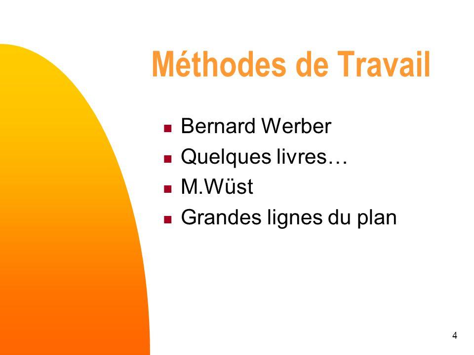 Méthodes de Travail Bernard Werber Quelques livres… M.Wüst