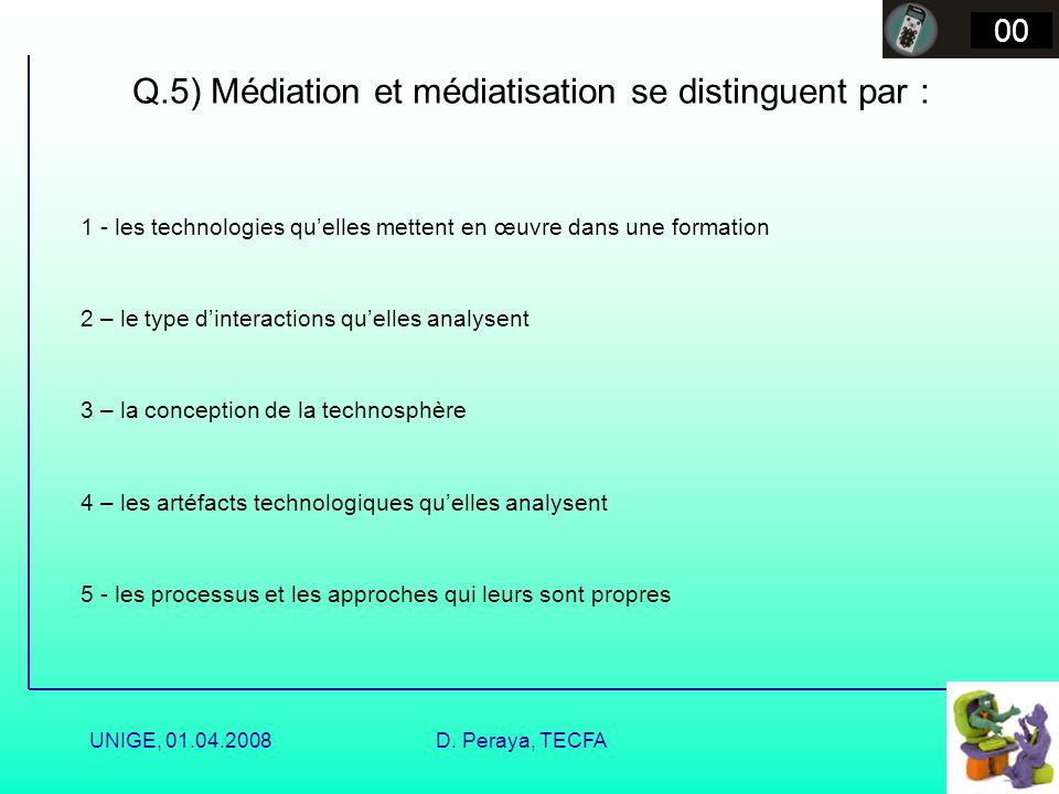 Q.5) Médiation et médiatisation se distinguent par :