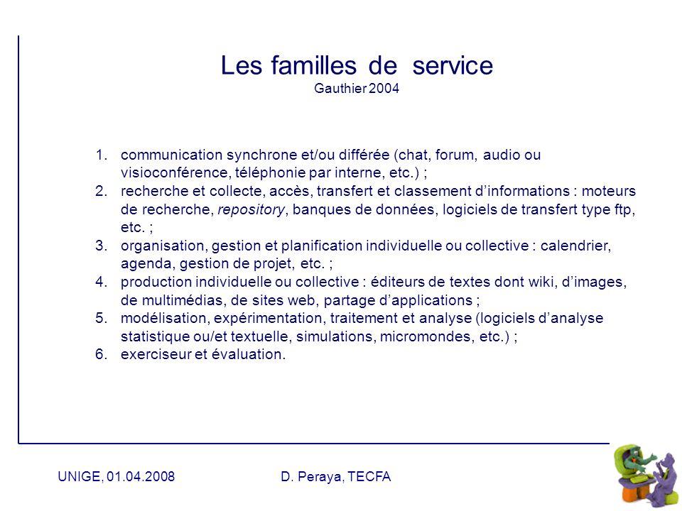 Les familles de service