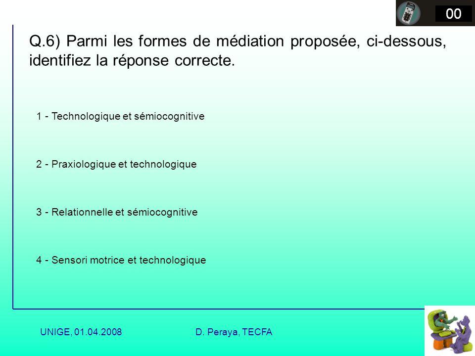 00 Q.6) Parmi les formes de médiation proposée, ci-dessous, identifiez la réponse correcte. 1 - Technologique et sémiocognitive.