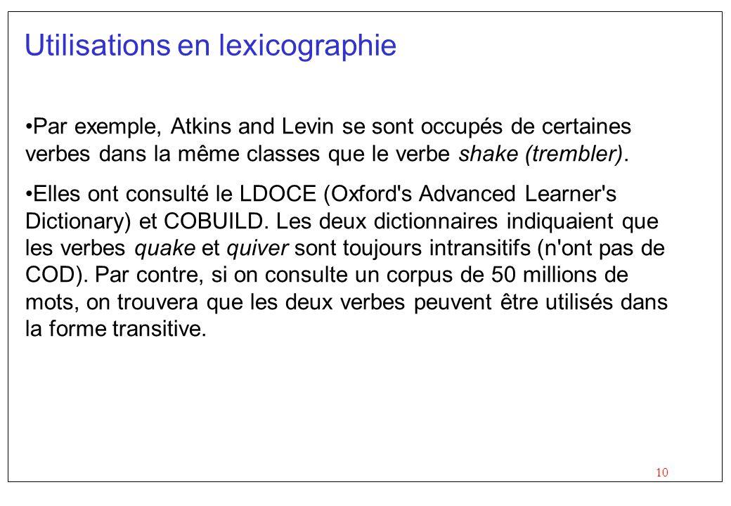 Utilisations en lexicographie