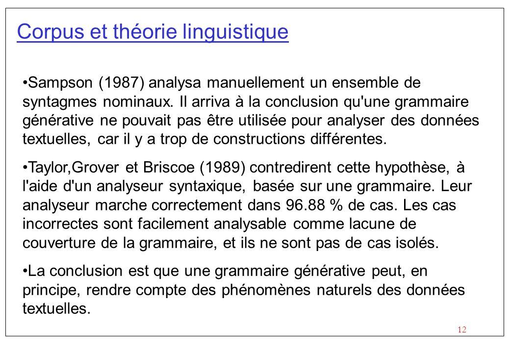 Corpus et théorie linguistique