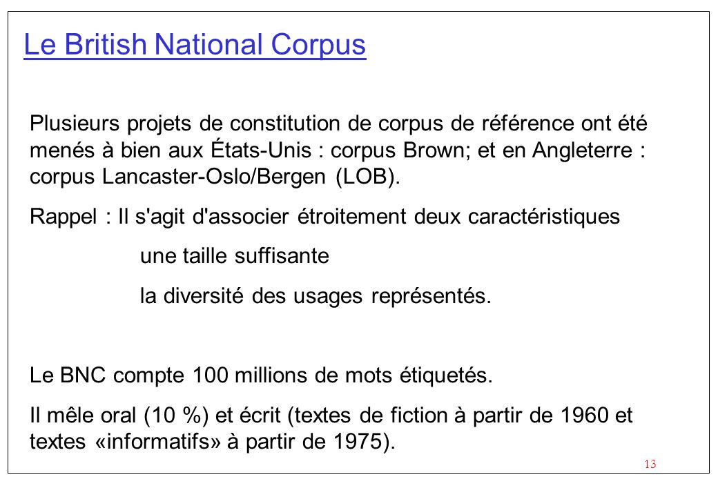 Le British National Corpus